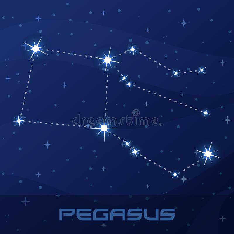 Constellation Pegasus, Winged Horse vector illustration