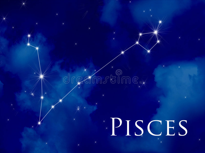 Constellation Pisces. Night sky with Pisces constellation royalty free illustration