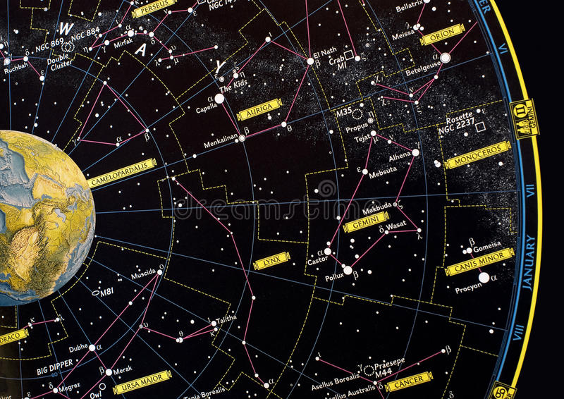 Constellation star map. And planet earth stock images