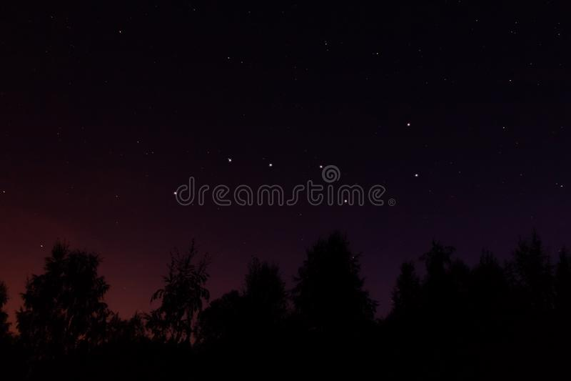 Constellation Ursa Major big dipper or Great Bear in the night starry sky.  royalty free stock photo