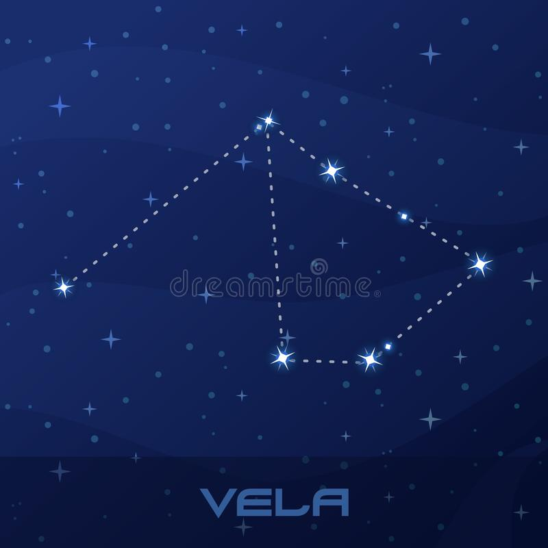 Constellation Vela, Sails, night star sky stock illustration