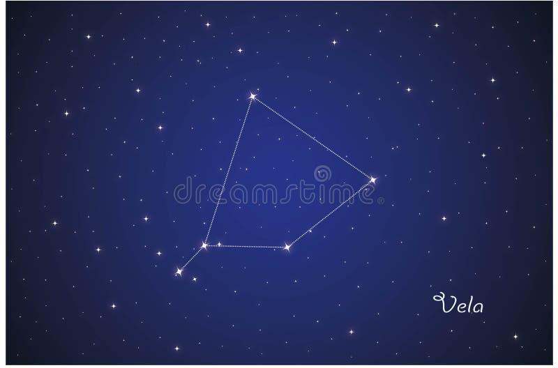 Constellation of Vela vector illustration