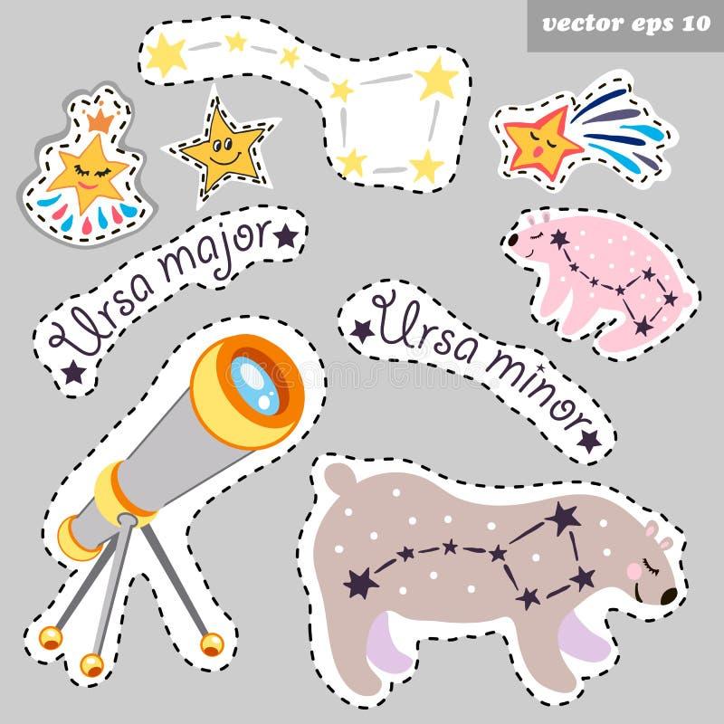 Constellations avec le télescope illustration stock