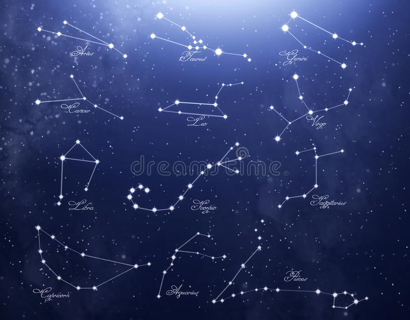 Constellations consisting of the signs of the zodiac against the starry blue sky stock images