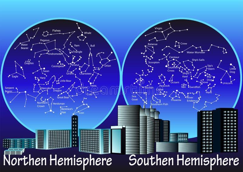 Constellations d'hémisphère illustration libre de droits