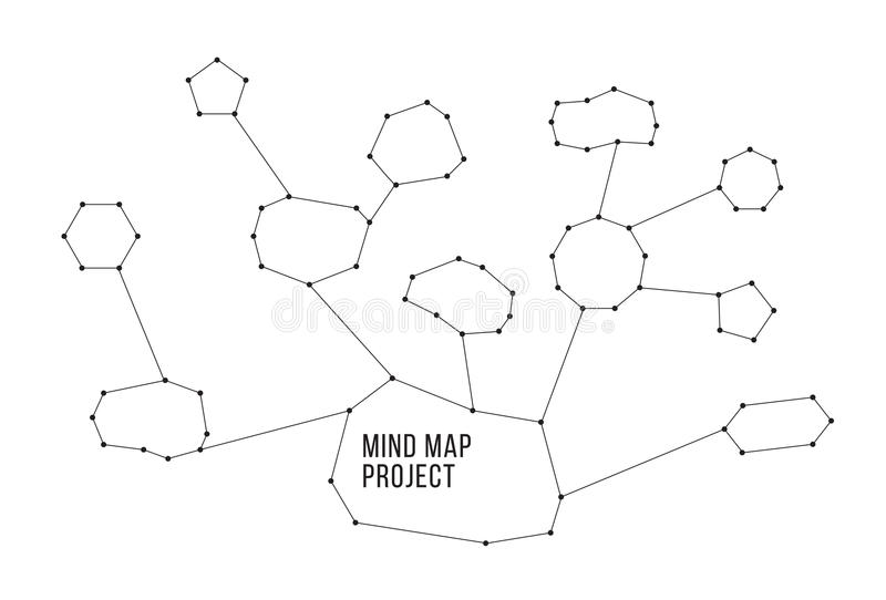 Constellations mindmap schemes infographic concept. Constellations mindmap schemes concept. Useful for your site or presentation. Black and white colors royalty free illustration