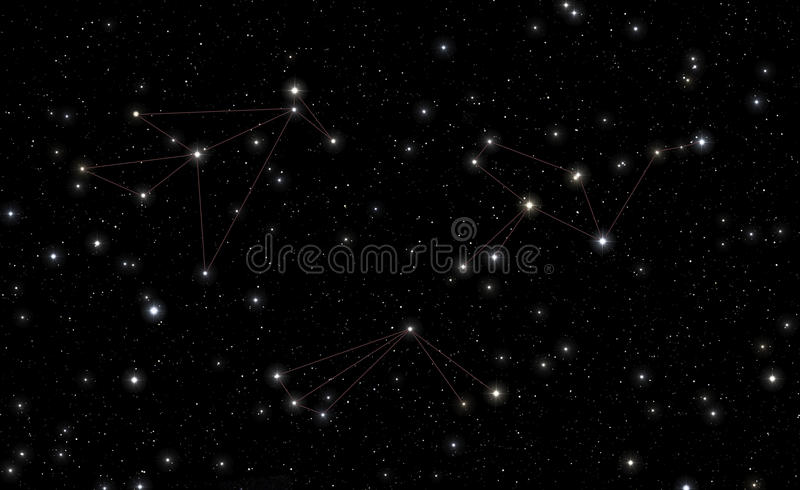 Constellations of Phoenix, Tucana and Grus stock illustration