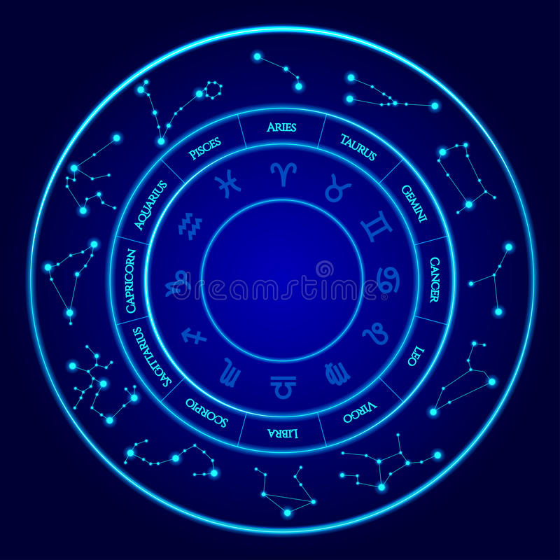 Constellations Vector Set. Twelve signs of the zodiac located in a circle. Blue neon horoscope circle. Perfect stock illustration