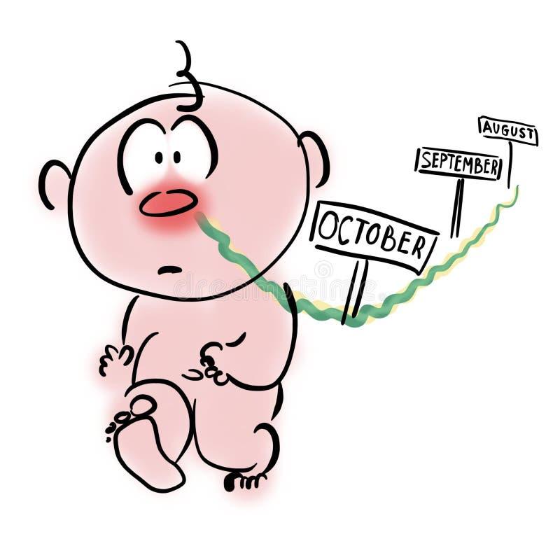 Constipação comum nas crianças Tanto ranho ilustração stock