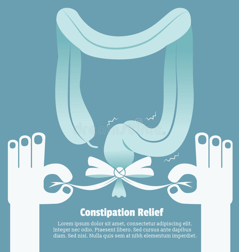 Constipation relief, Sign and symbol. Vector illustration royalty free illustration