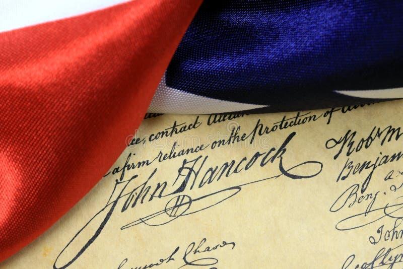 Constitución de los E.E.U.U. de la firma de John Hancock fotografía de archivo libre de regalías