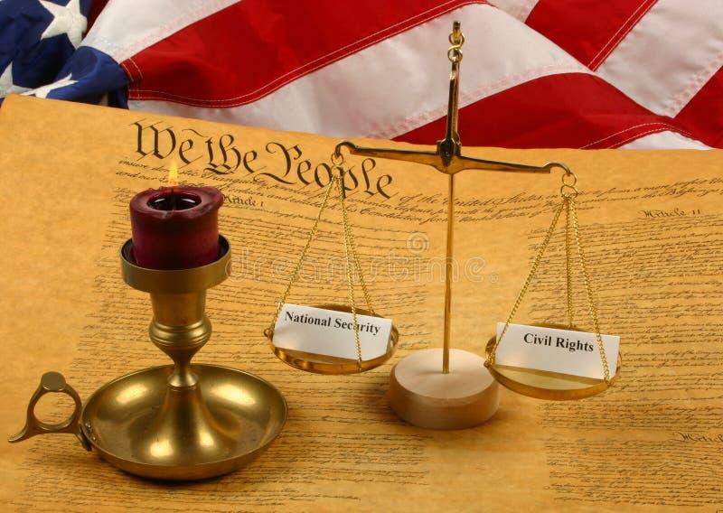 Constituição de Estados Unidos, peso das escalas   fotografia de stock royalty free