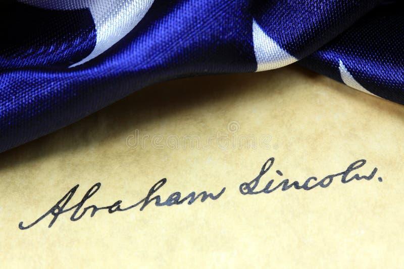 Constituição dos E.U. da assinatura de Abraham Lincoln fotografia de stock