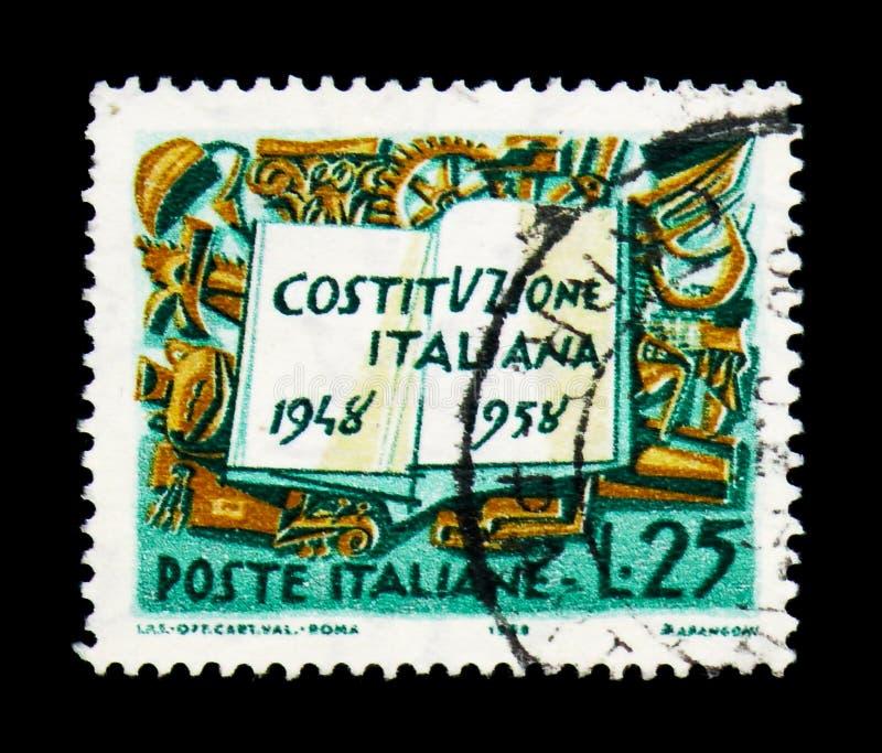 Constituição e símbolos italianos do trabalho, anneversa de dez anos imagem de stock royalty free