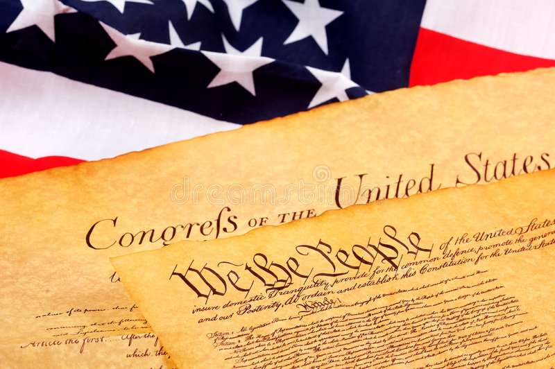 Constitution. US Constitution and American Flag royalty free stock image