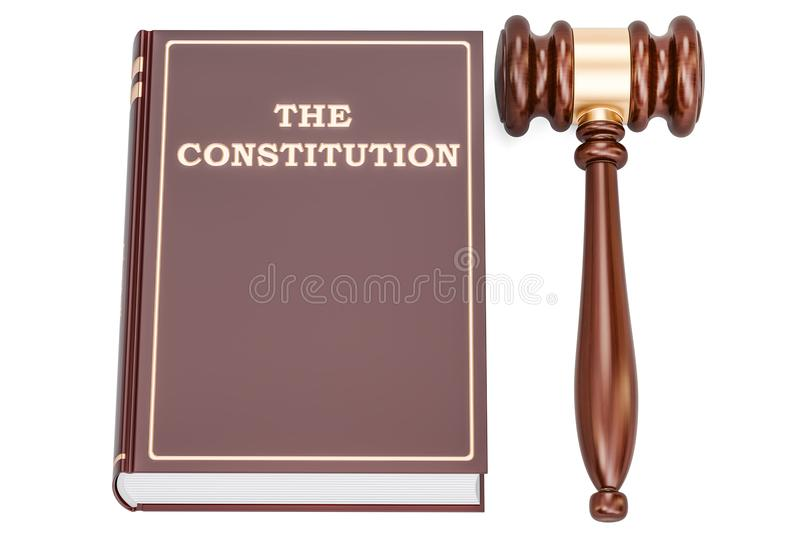 Constitution book with gavel, 3D rendering vector illustration