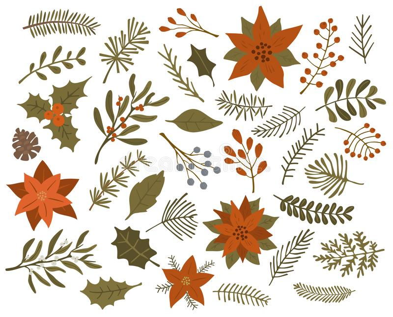 Constitution des grappes rouge de branches de brindilles de feuillage de Noël d'hiver, vecteur d'isolement illustration libre de droits