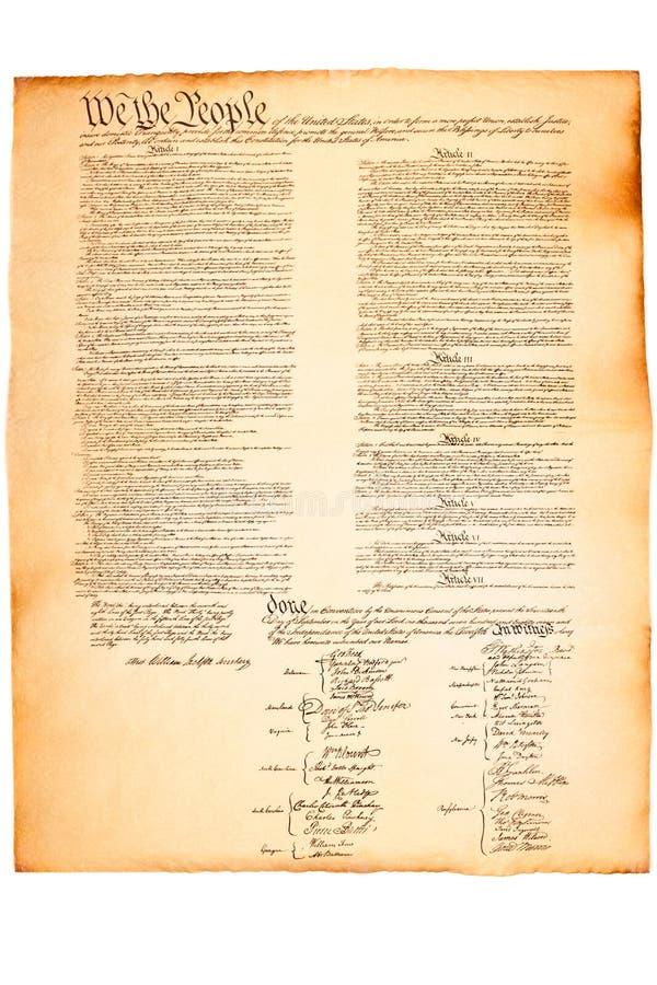 Constitution des USA sur le papier parcheminé photo stock