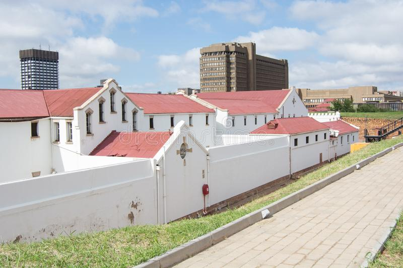 Constitution Hill, a former military fort and prison, now a living museum and home to the Constitutional Court royalty free stock image