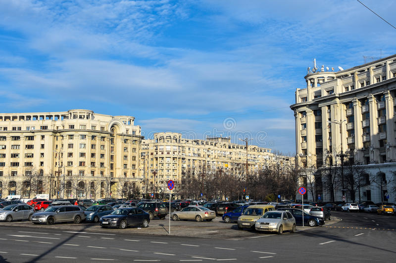 Constitution Square Piata Constitutiei. Bucharest, Romania. February 3, 2017. Parking at Constitution Square Piata Constitutiei stock photos
