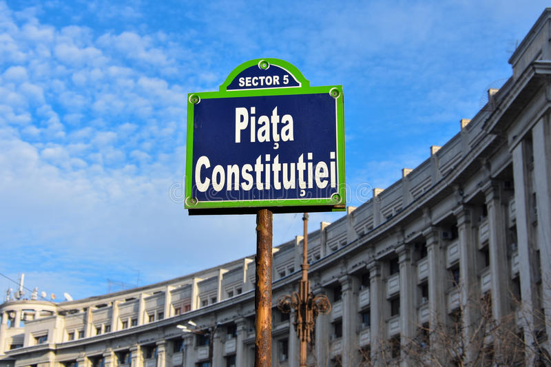 Constitution Square Piata Constitutiei. Bucharest, Romania. February 3, 2017. Sign at Constitution Square Piata Constitutiei stock photography