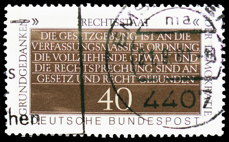 Constitutional Freedom, Fundamental Concepts of Democracy serie, circa 1981. MOSCOW, RUSSIA - FEBRUARY 21, 2019: A stamp printed in Germany, Republic shows stock image