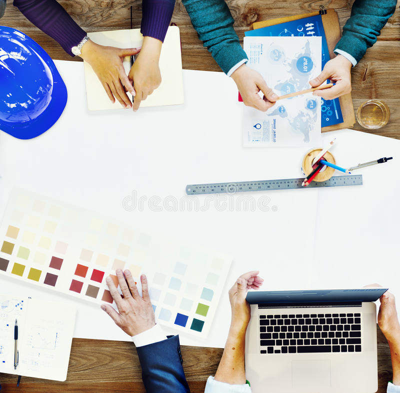 Constraction Design Team Meeting Brainstorming Planning Concept stock images