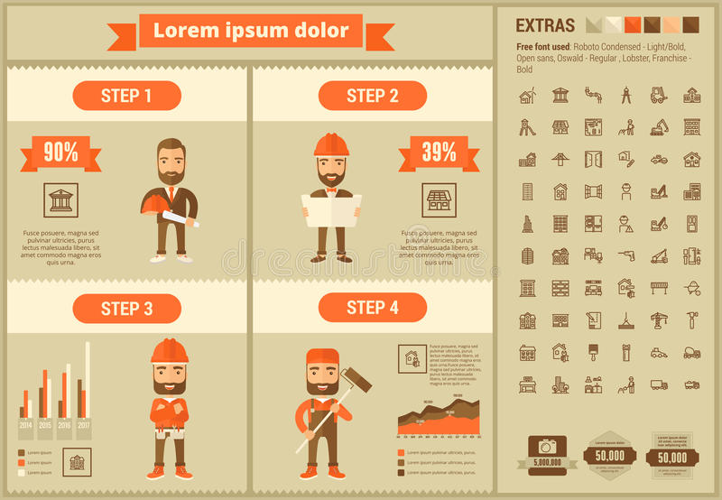 Constraction flat design Infographic Template. Construction infographic template and elements. The template includes illustrations of hipster men and huge royalty free illustration