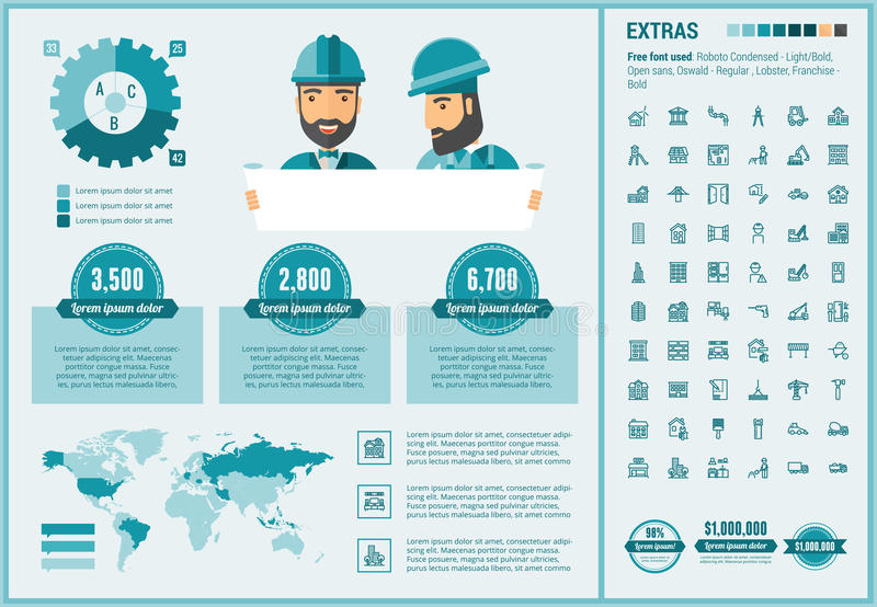 Constraction flat design Infographic Template stock illustration