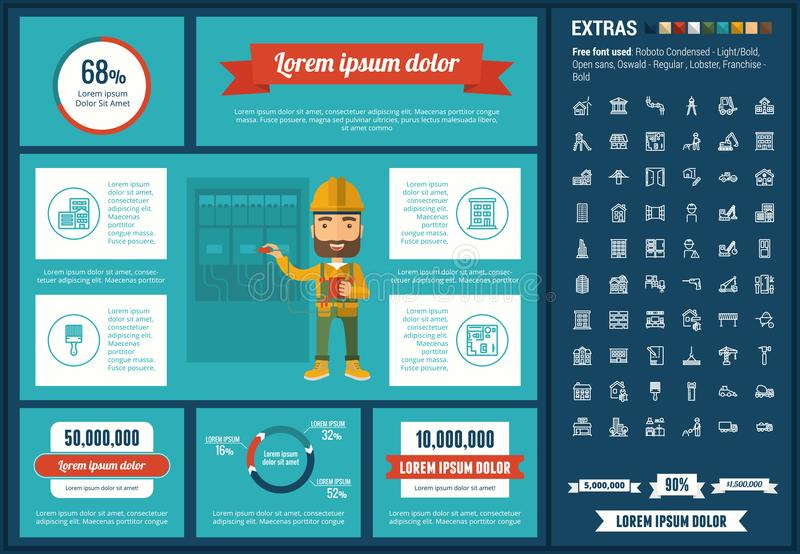 Constraction flat design Infographic Template. Construction infographic template and elements. The template includes illustrations of hipster men and huge vector illustration