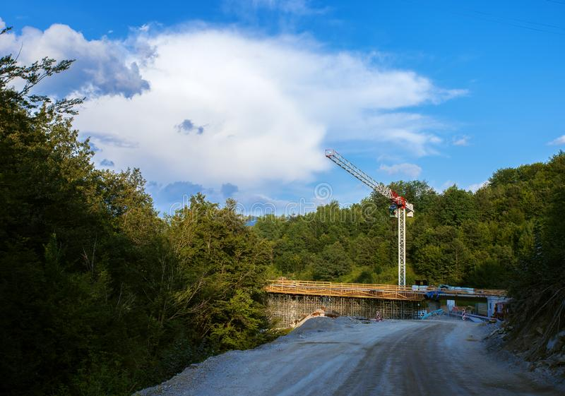 Constraction of a new highway. Bridge Constraction on a new highway in Montenegro stock photos
