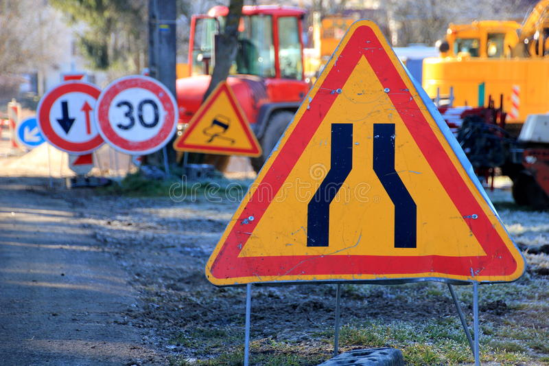 Constraction site. Traffic signs at a constraction site royalty free stock photo