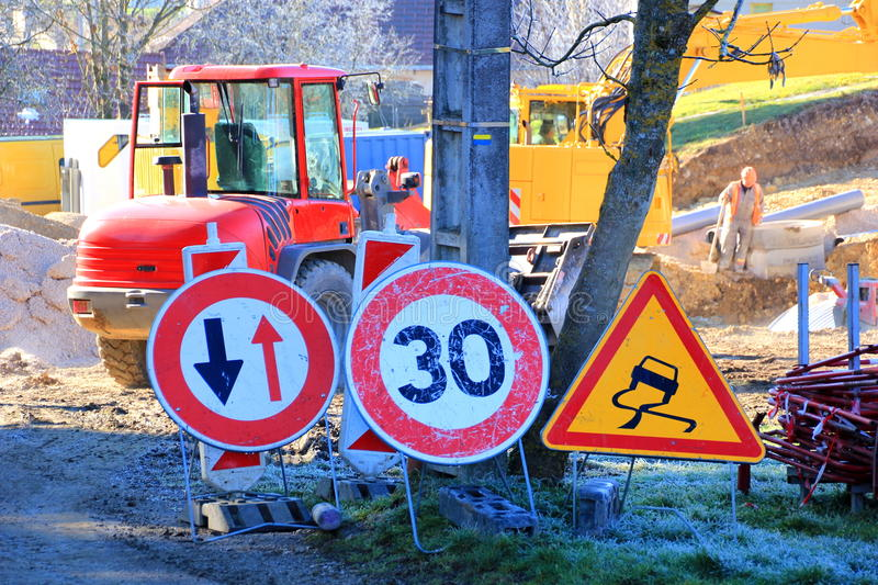 Constraction site. Traffic signs at a constraction site stock images
