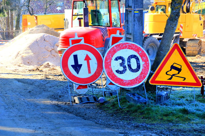Constraction site. Traffic signs at a constraction site royalty free stock image