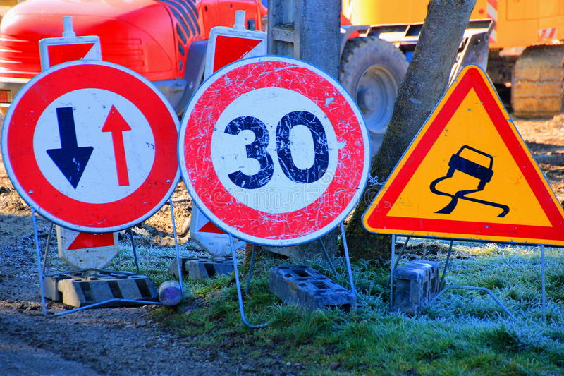 Constraction site. Traffic signs at a constraction site stock photos