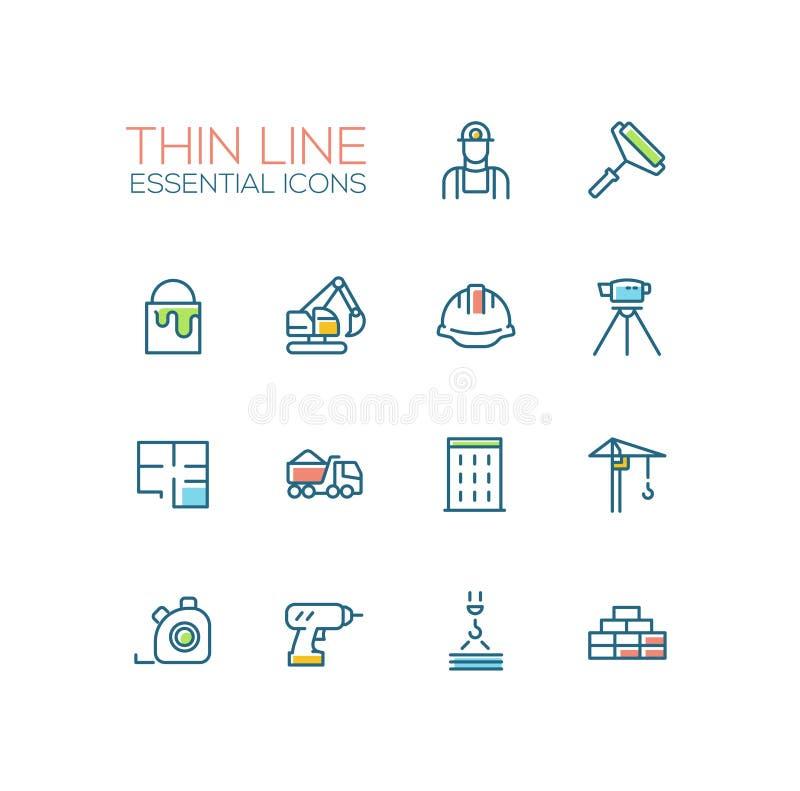 Construção - única linha fina ícones ajustados ilustração stock