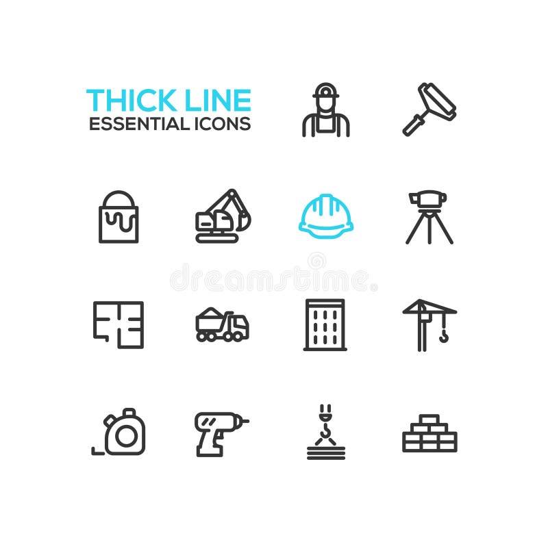 Construção - única linha grossa ícones ajustados ilustração do vetor