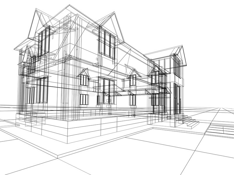 Construção 3D abstrata ilustração do vetor