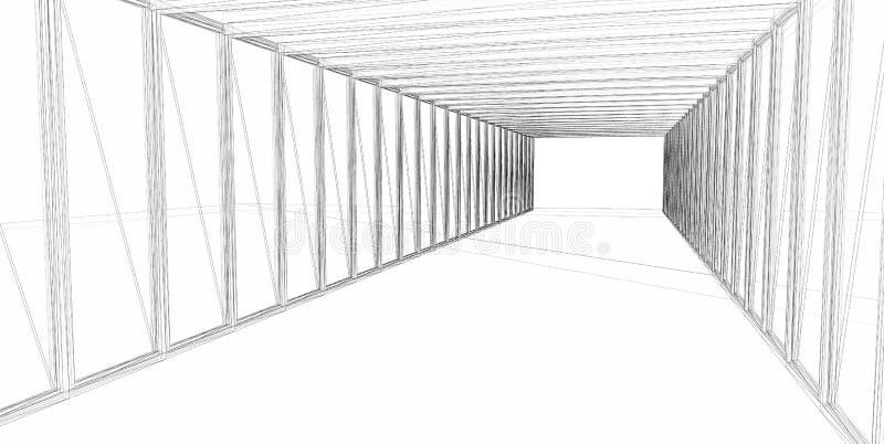 Construção 3D arquitectónica abstrata fotos de stock