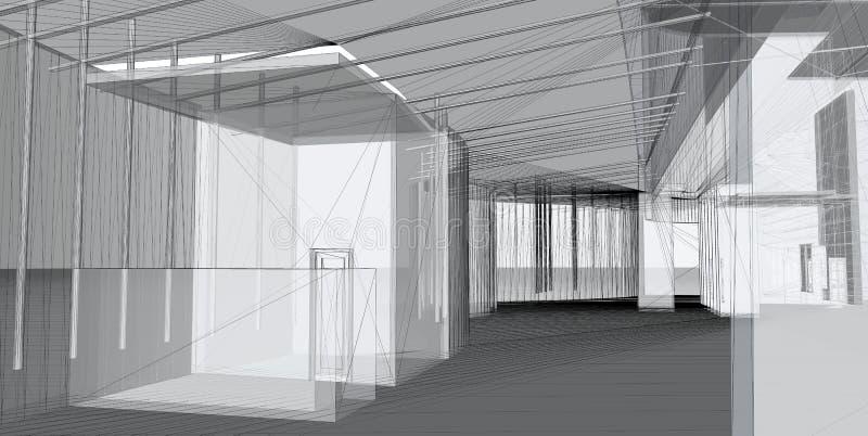 Construção 3D arquitectónica abstrata fotos de stock royalty free