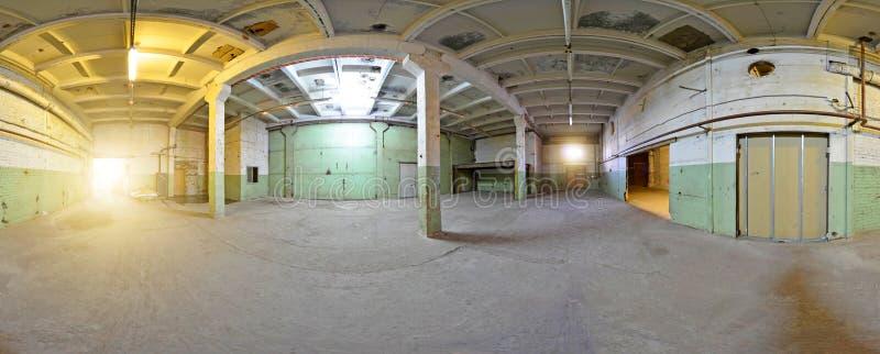 Construção abandonada do panorama interior esférico Completamente 360 por 180 diplomas na projeção equirectangular fotografia de stock