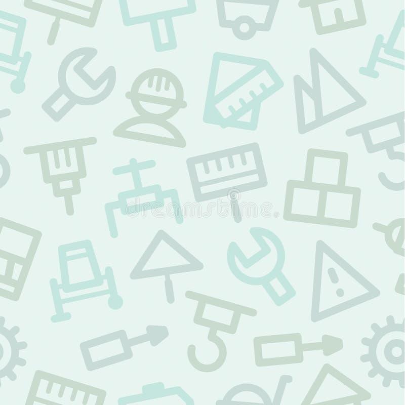 Construção ajustada ícones do reparo do teste padrão ilustração stock
