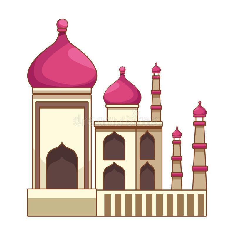 Construção antiga mahal do monumento de Taj india ilustração royalty free