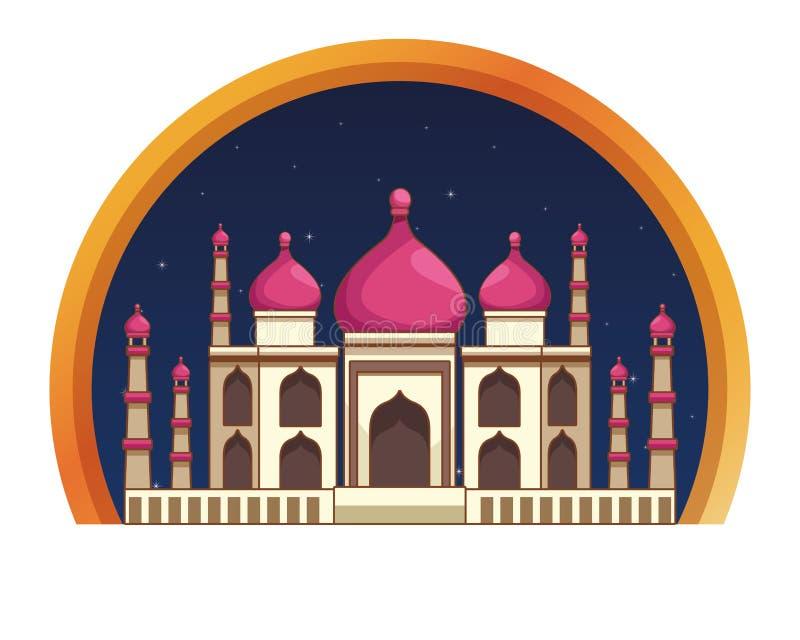 Construção antiga mahal do monumento de Taj india ilustração stock