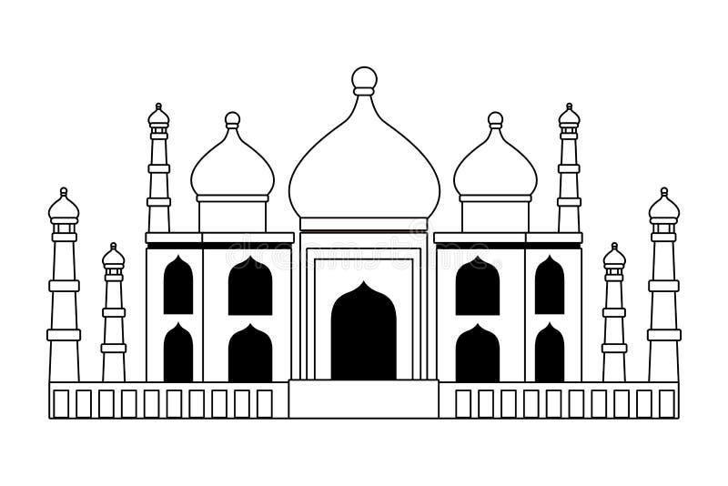 Construção antiga mahal do monumento de Taj india em preto e branco ilustração do vetor
