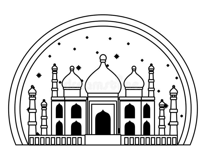 Construção antiga mahal do monumento de Taj india em preto e branco ilustração royalty free
