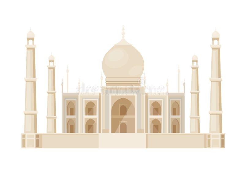 Construção antiga tradicional de Taj Mahal na Índia, marco ilustração royalty free