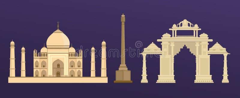 Construção antiga tradicional de Taj Mahal na Índia, porta indiana em Deli ilustração do vetor