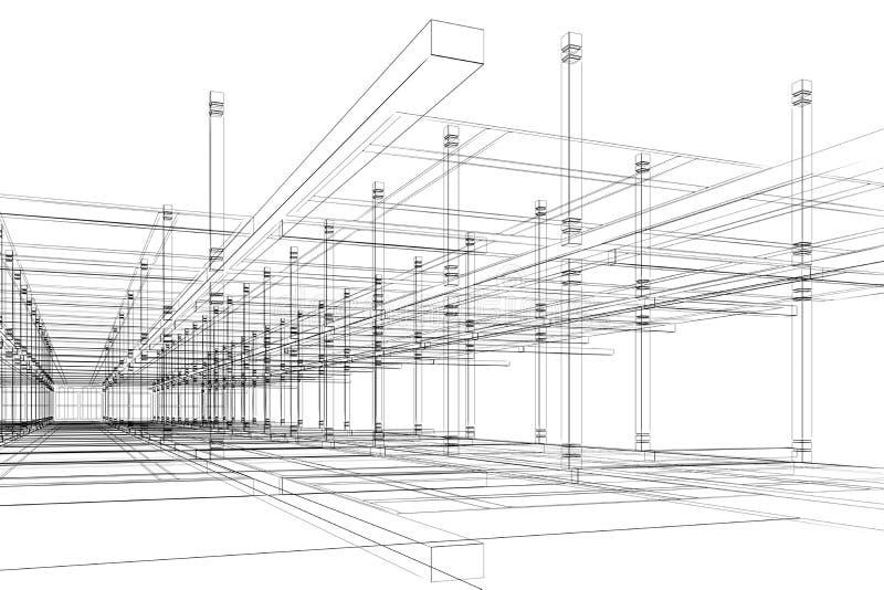 Construção arquitectónica abstrata ilustração stock