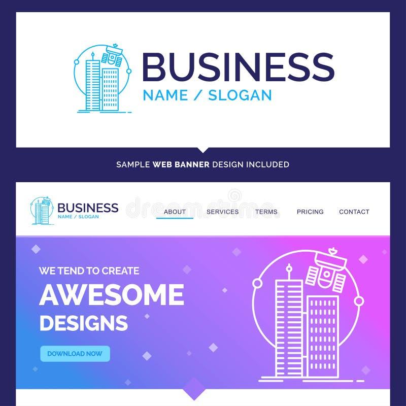 Construção bonita da marca do conceito do negócio, cidade esperta, tecnologia ilustração royalty free
